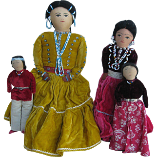 Four 1950's Navajo Native American Cloth Dolls