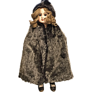 1905-1910 Doll's Mohair Hooded Cape