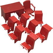 Renwal 9 Piece Hard Plastic Red School Dollhouse Furniture