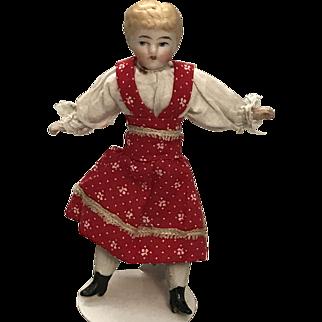"4 1/2"" German Bisque Dollhouse Little Girl"