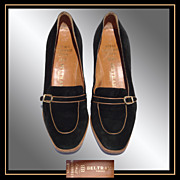 Vintage 1970s Natale Ferrario Shoes - Black Suede - Size 7 1/2