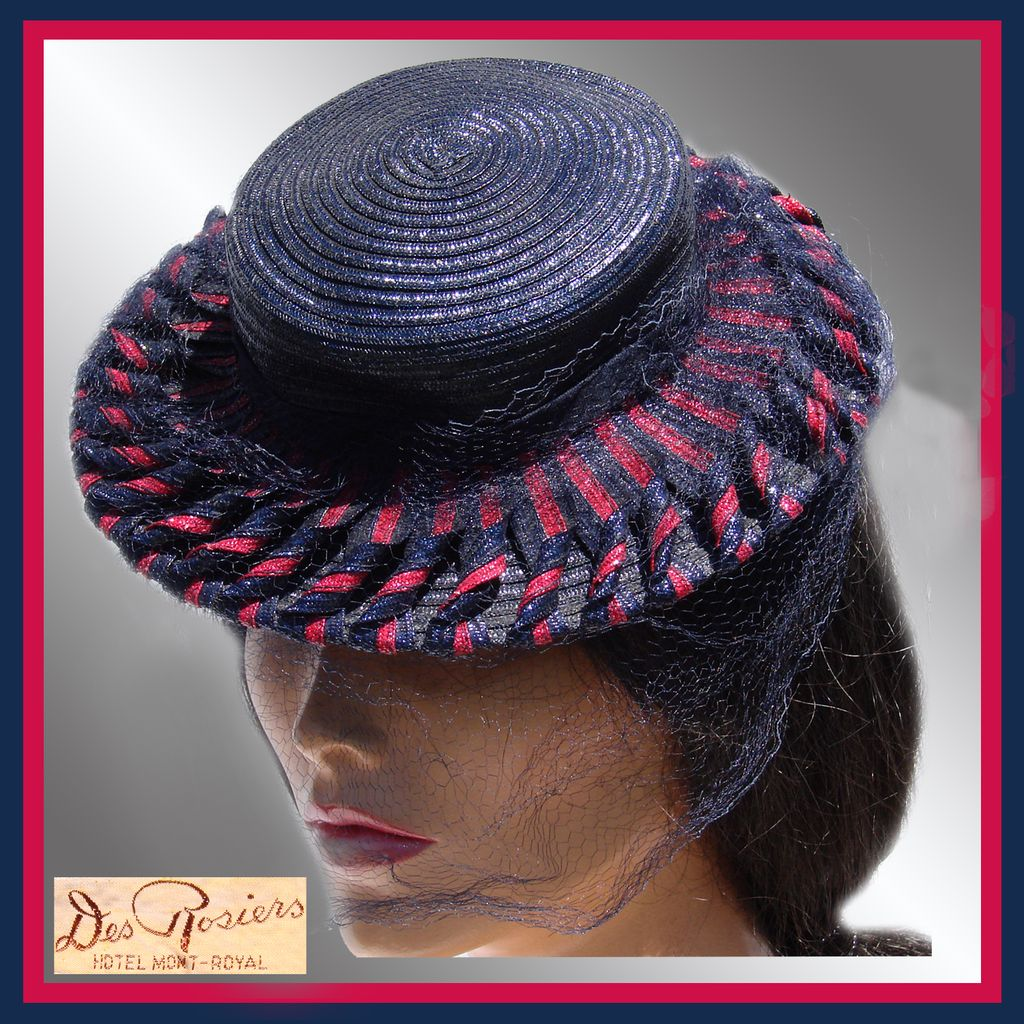 Vintage 1930s Straw Hat - Blue and Red - Tilt Hat
