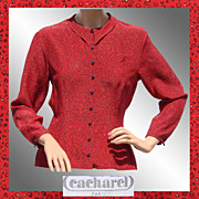 Vintage 1970s Cacharel Red Silk Blouse