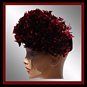 Vintage 1950s Red Feather Hat