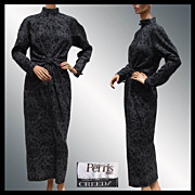 Vintage 1980s Bernard Perris Dress // Paris Haute Couture Designer for Creeds Ladies Size M 10