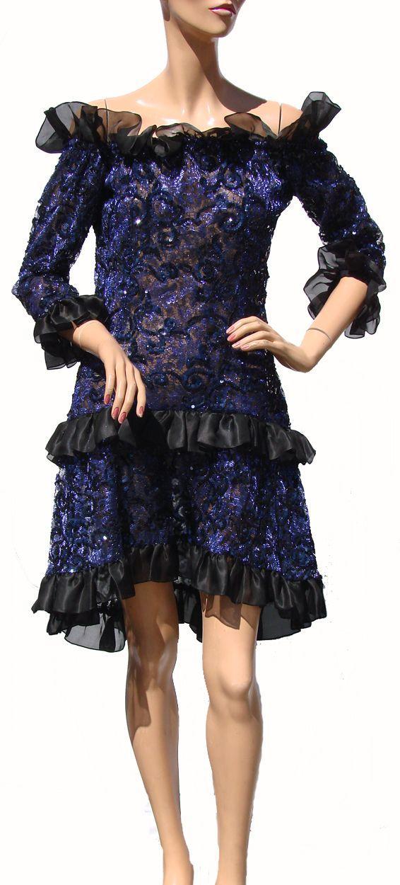 Vintage 80s Yves Saint Laurent Dress // St Laurent Rive Gauche Paris Blue Sequin Lace Ladies Size M