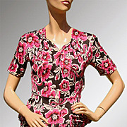 Vintage 1940s Floral Rayon Jersey Dress with Peplum