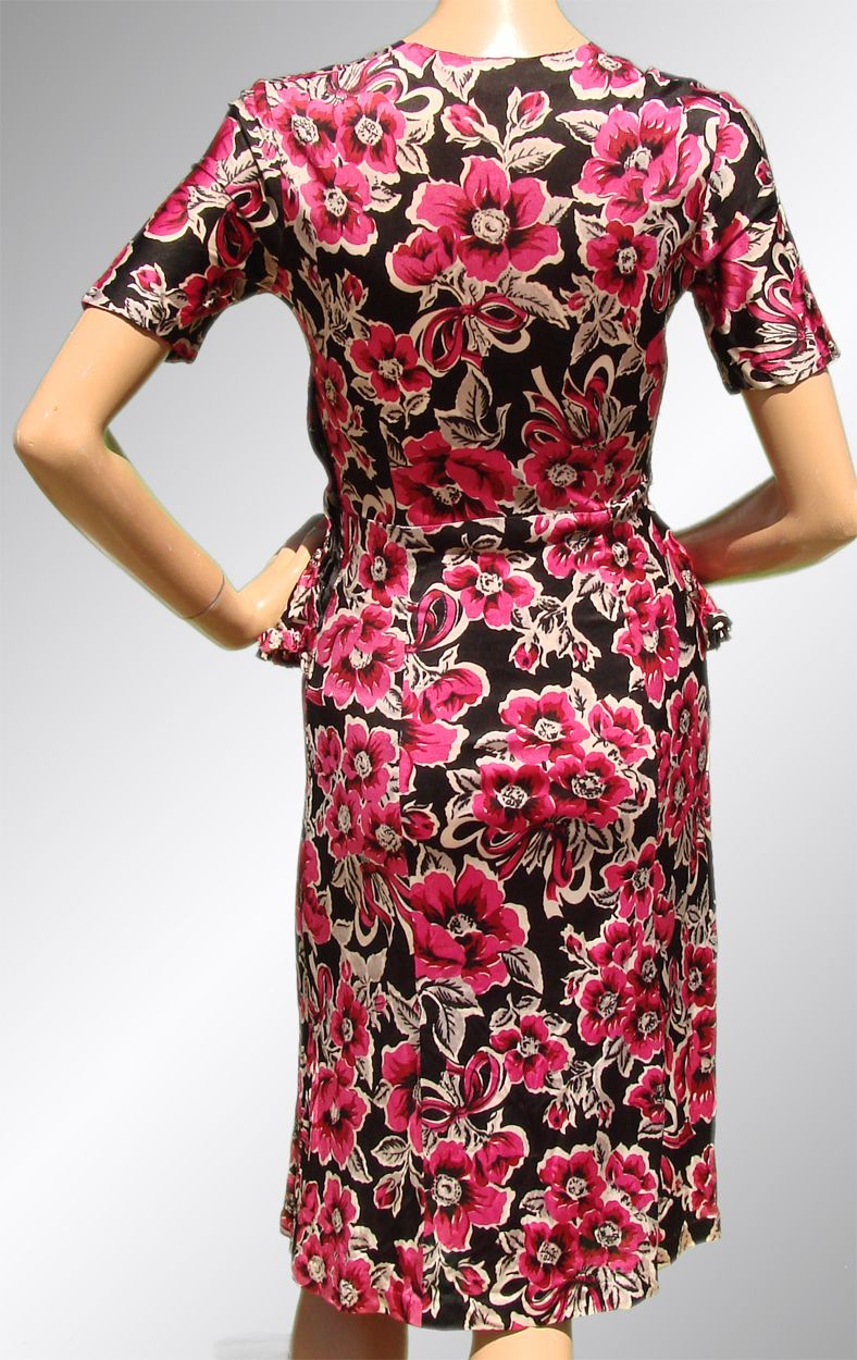 vintage 1940s floral rayon jersey dress with peplum from