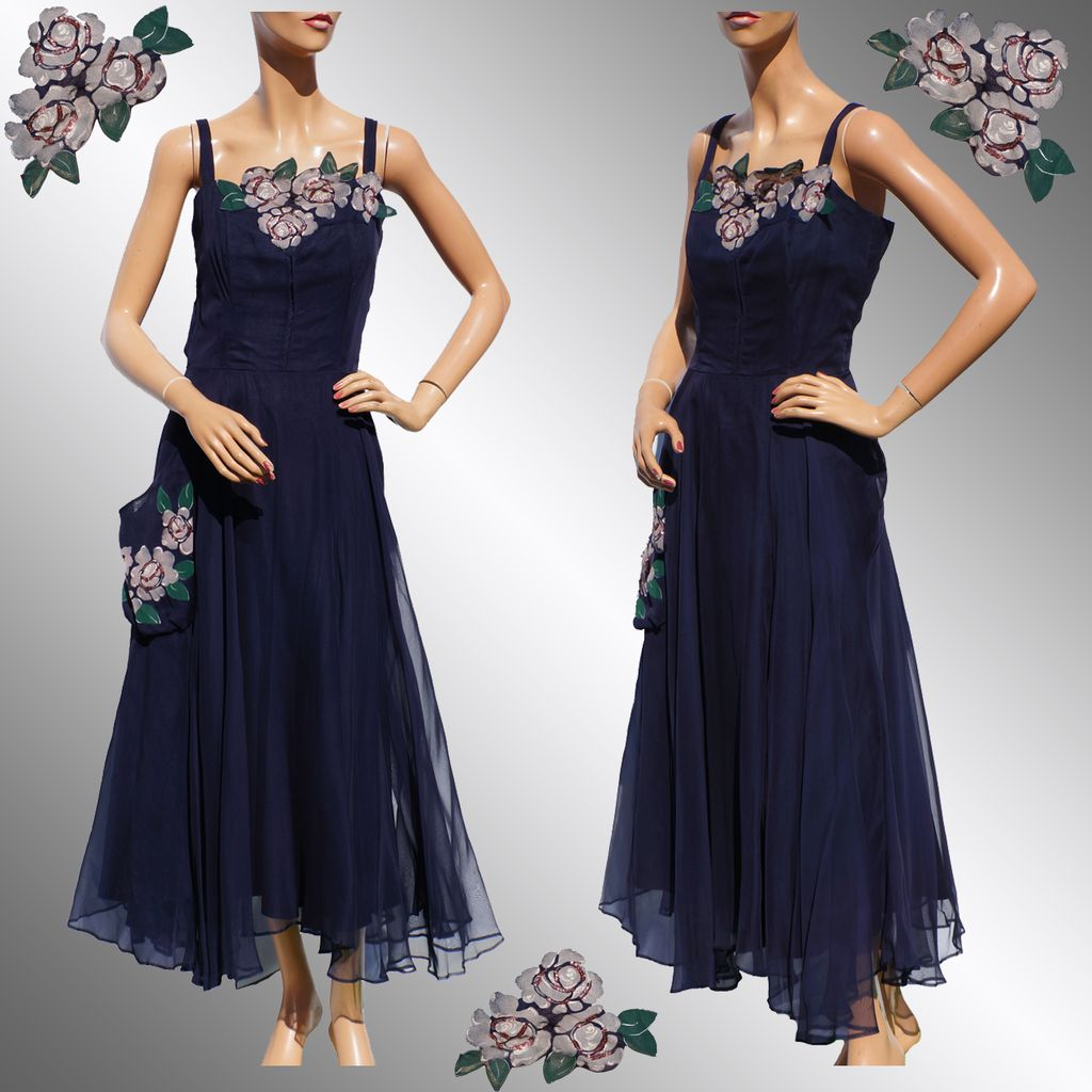Vintage 1940s Blue Chiffon Dress - Hand Painted Flower - L from ...