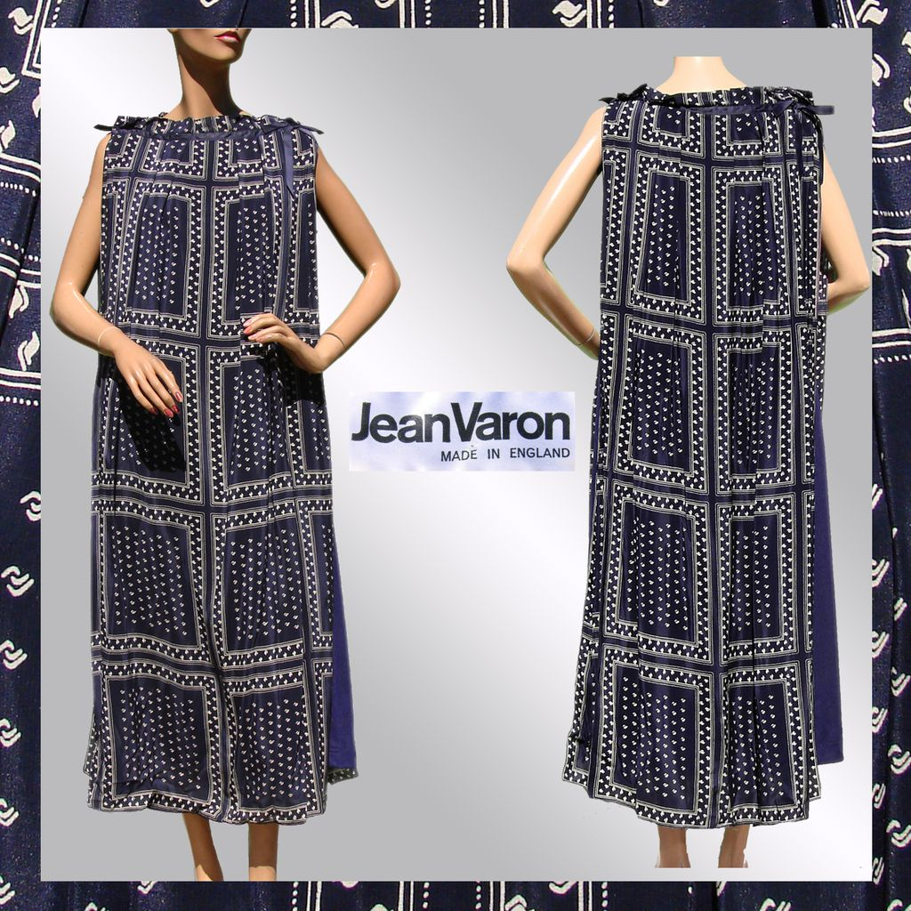 Vintage 70s Jean Varon Dress // 1970s Tent Style Made in England Design Ladies Size L 12 Large