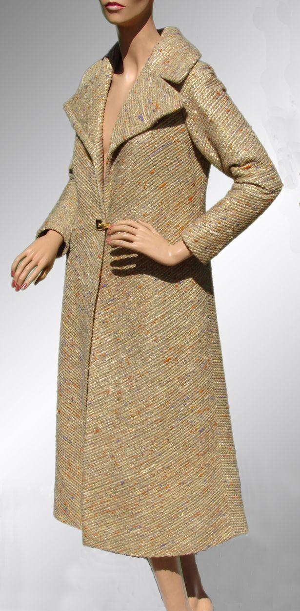 Vintage 1960s Coat Wool with Gold Lame - Ilus Geiger - Beverly Hills - M