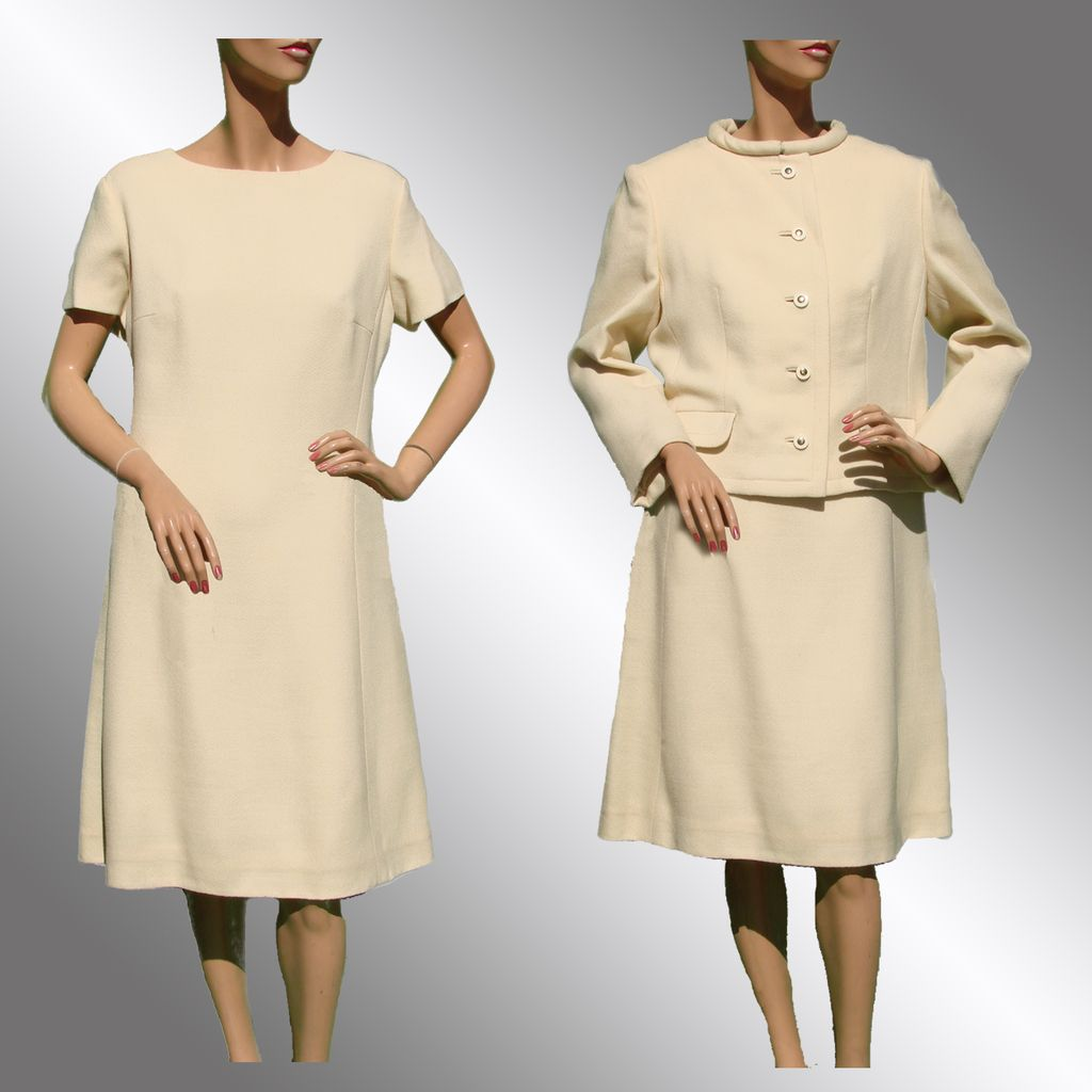 Vintage 1960s Off White Dress with Matching Jacket - L from ...