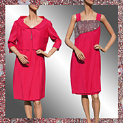 Vintage 60s Hot Pink Beaded Dress with Jacket - L
