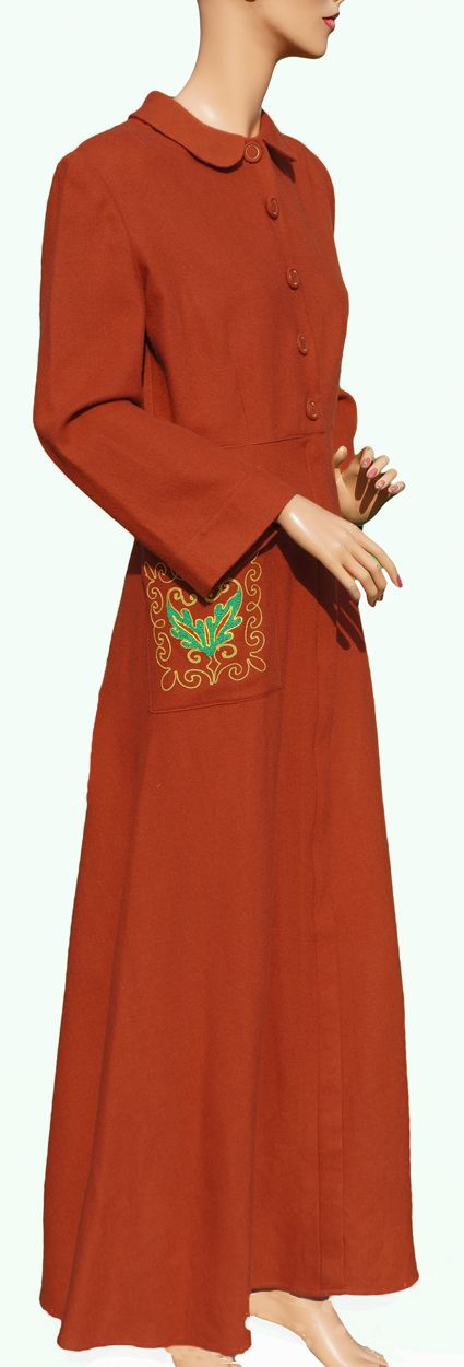 Vintage 40s Wool Flannel Robe 1940s Dressing Gown Brown