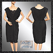 Vintage 50s Black Silk Brocade Cocktail Dress // 1950s Doree Leventhal England Bombshell Ladies Size L Large