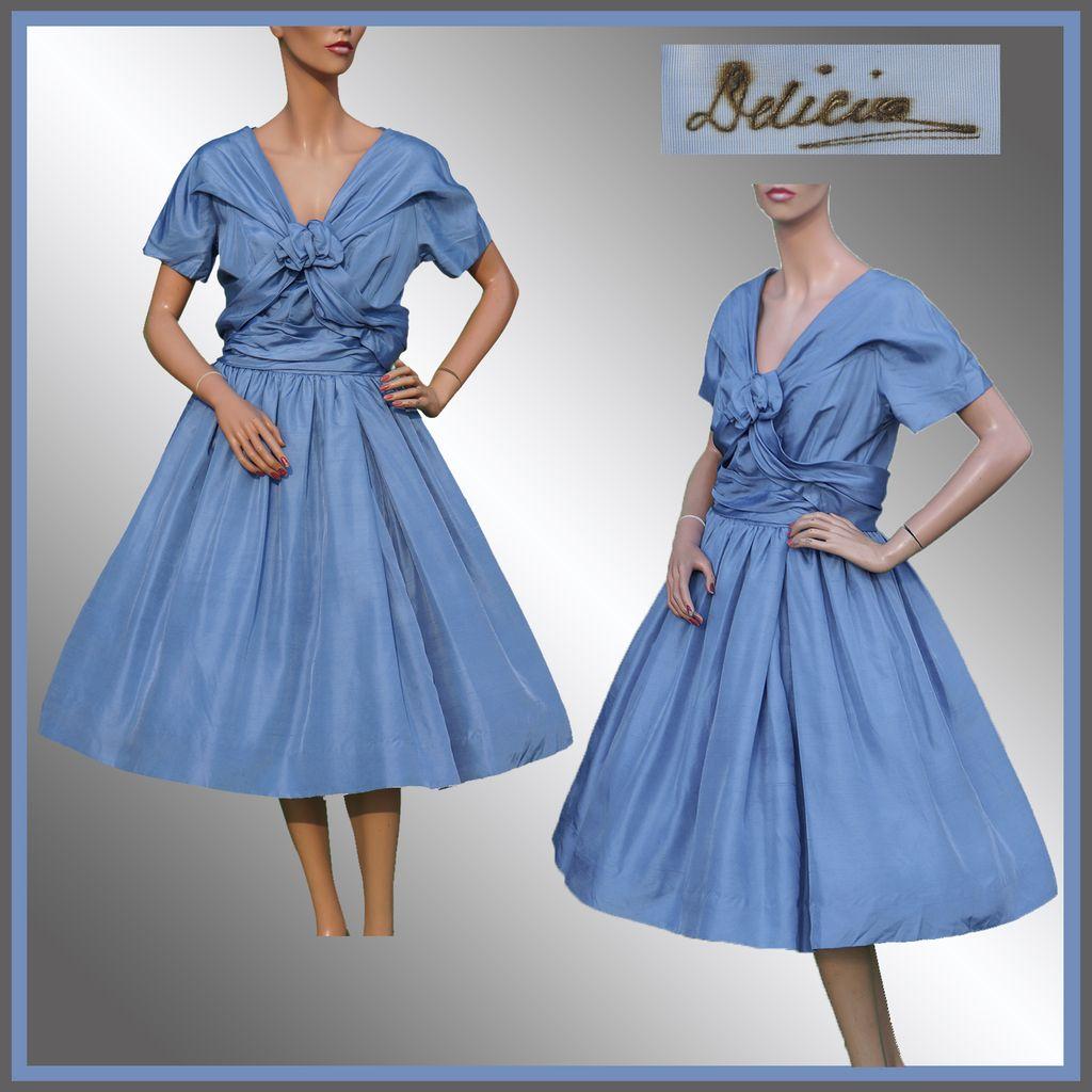 Vintage 1950s Blue Silk Party Dress - M : Poppy\'s Vintage Clothing ...