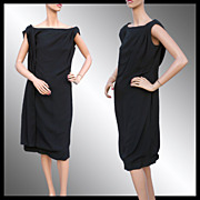 Vintage 1960s Black Crepe Dress with Drape Feature - Large