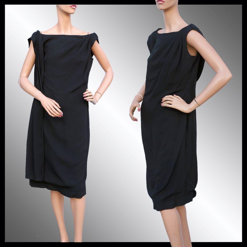Black dress vintage - Vintage 1960s Black Crepe Dress With Drape Feature Large
