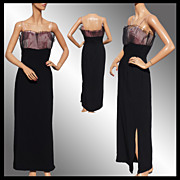 Vintage 1960s Black Crepe Dress - Pink Pleated Net Bodice - M