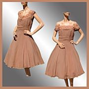Vintage 1950s Brown Chiffon Party Dress - M