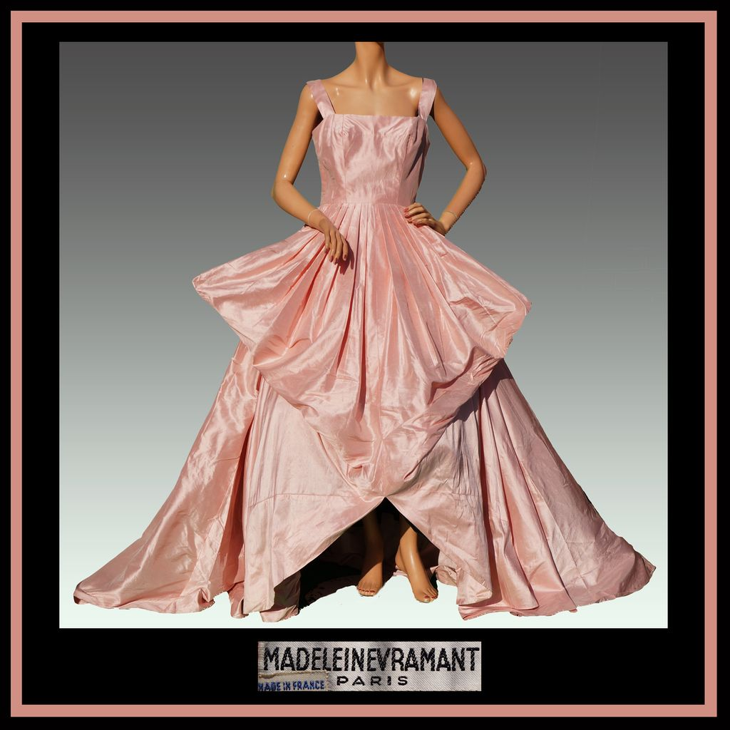 Vintage 40s Madeleine Vramant Dress // 1940s Parisian Haute Couture Pink Silk Evening Gown Ladies Size S / M
