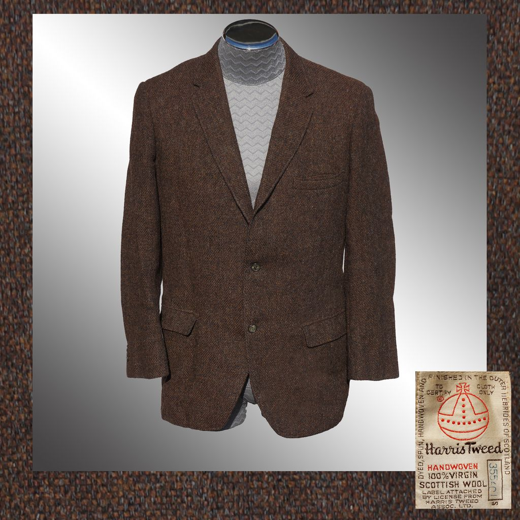 Vintage 60s Harris Tweed Jacket // 1960s Brown Sport Coat Blazer