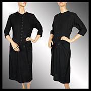 Vintage 1950s Black Wool Dress - Sophisticated Design - M