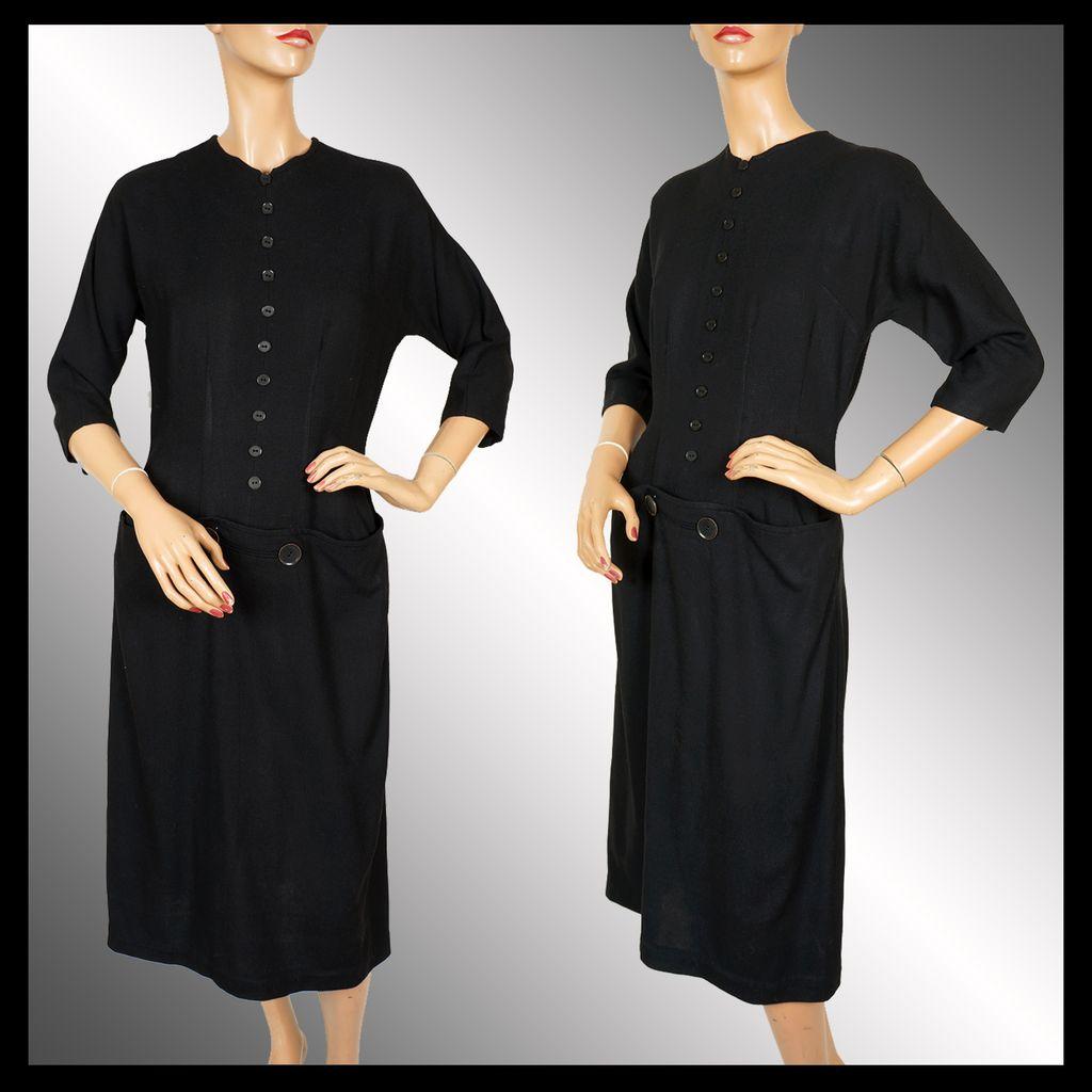 Black dress design - Vintage 1950s Black Wool Dress Sophisticated Design M