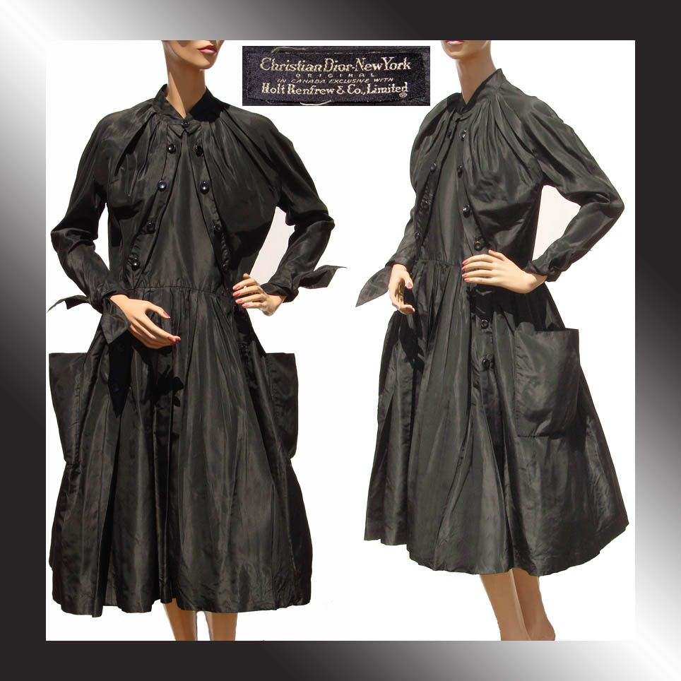RESERVED Vintage 1950s Christian Dior Black Silk Taffeta Dress - New Look - M