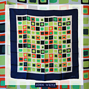 Vintage 1960s Color Block Silk Scarf - John Weitz