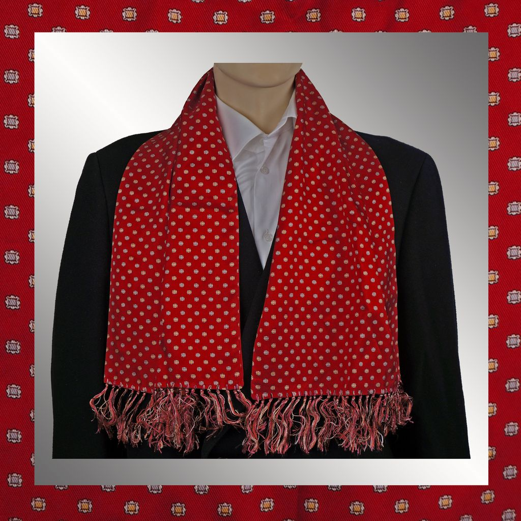 Vintage 50s Mens Red Silk Twill Fringed Scarf