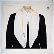 Vintage 20s Mens Silk Opera Scarf  1920s Art Deco Monogrammed White Foulard Exceptional