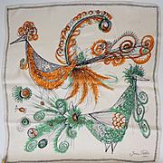 Vintage 1950s Jean Patou Silk Scarf - Birds of Paradise