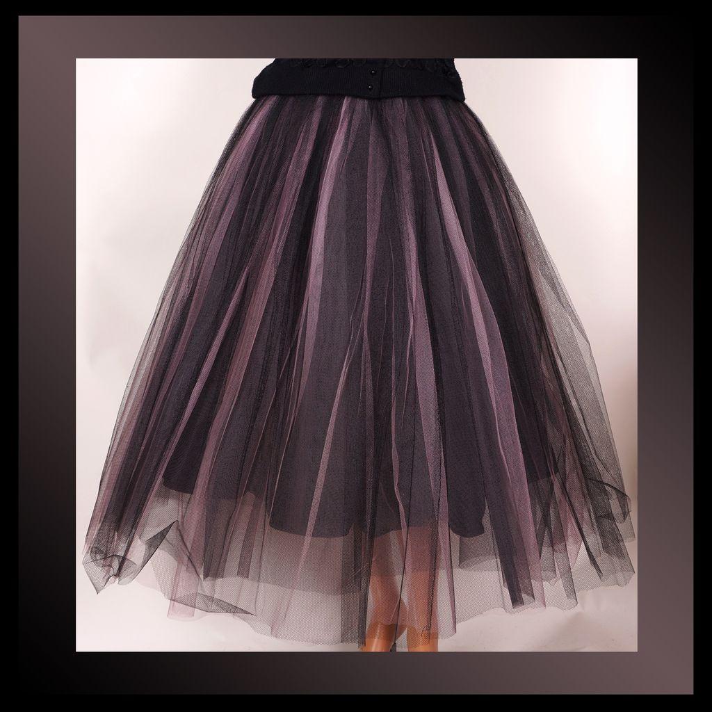 "Vintage 50s Tulle Skirt // 1950s Pink & Black Net Ballet Tutu Ladies Size Small 22"" Waist"
