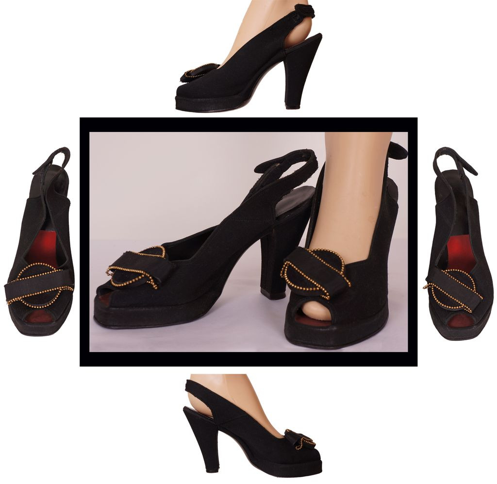 Vintage 40s Slingback Swing Shoes // 1940s WWII Era Peep Toe Pumps Black Faille Ladies Size 7 Medium