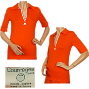 Vintage 70s Courreges Orange T Shirt with White Zipper -  S