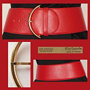 Vintage 1980s Guy Laroche Red Leather Belt - S / M 28