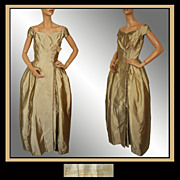 Vintage Couturier 40s Bianca Gusmaroli Evening Gown // 1940s Canadian Couture Designer Dress Ladies Size S
