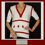 Vintage 70s Courreges Red & White Cotton Sweater // 1970s White Script Logo Ladies Size S