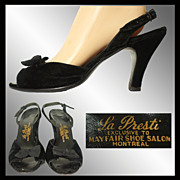 Vintage 1950s Black Velvet Slingback Shoes Size 9 - 9 1/2