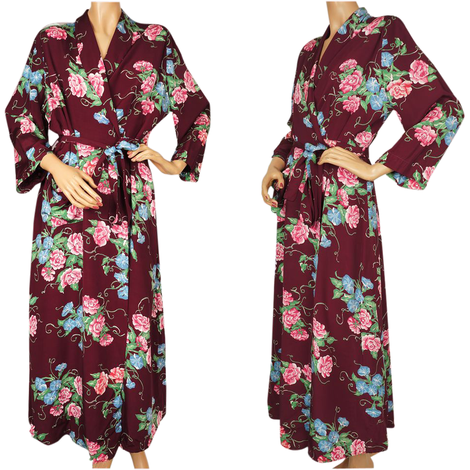 Vintage 1940s Floral Chintz Dressing Gown - Maroon Faille Lounging ...