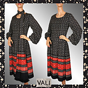 Vintage 70s Vali Peasant Look Dress // 1970s Ethnic Print Ladies Size Medium