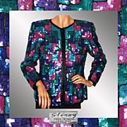 Vintage 80s Sequin Color Block Jacket - M
