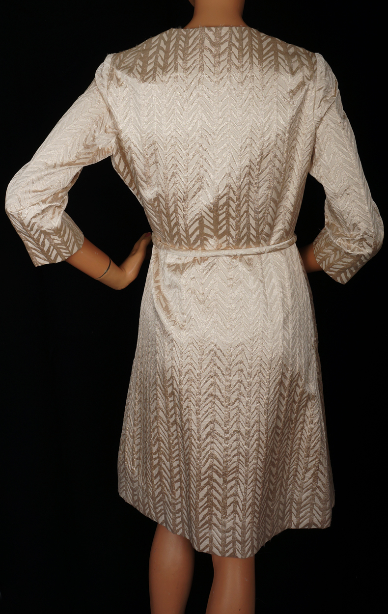 vintage 60s canadian couture gold lame dress 1960s wrap