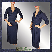 Vintage 50s Paris Fashion Couture Dress // early 1950s Alex Magny Couturier Made in France Ladies Size S / M