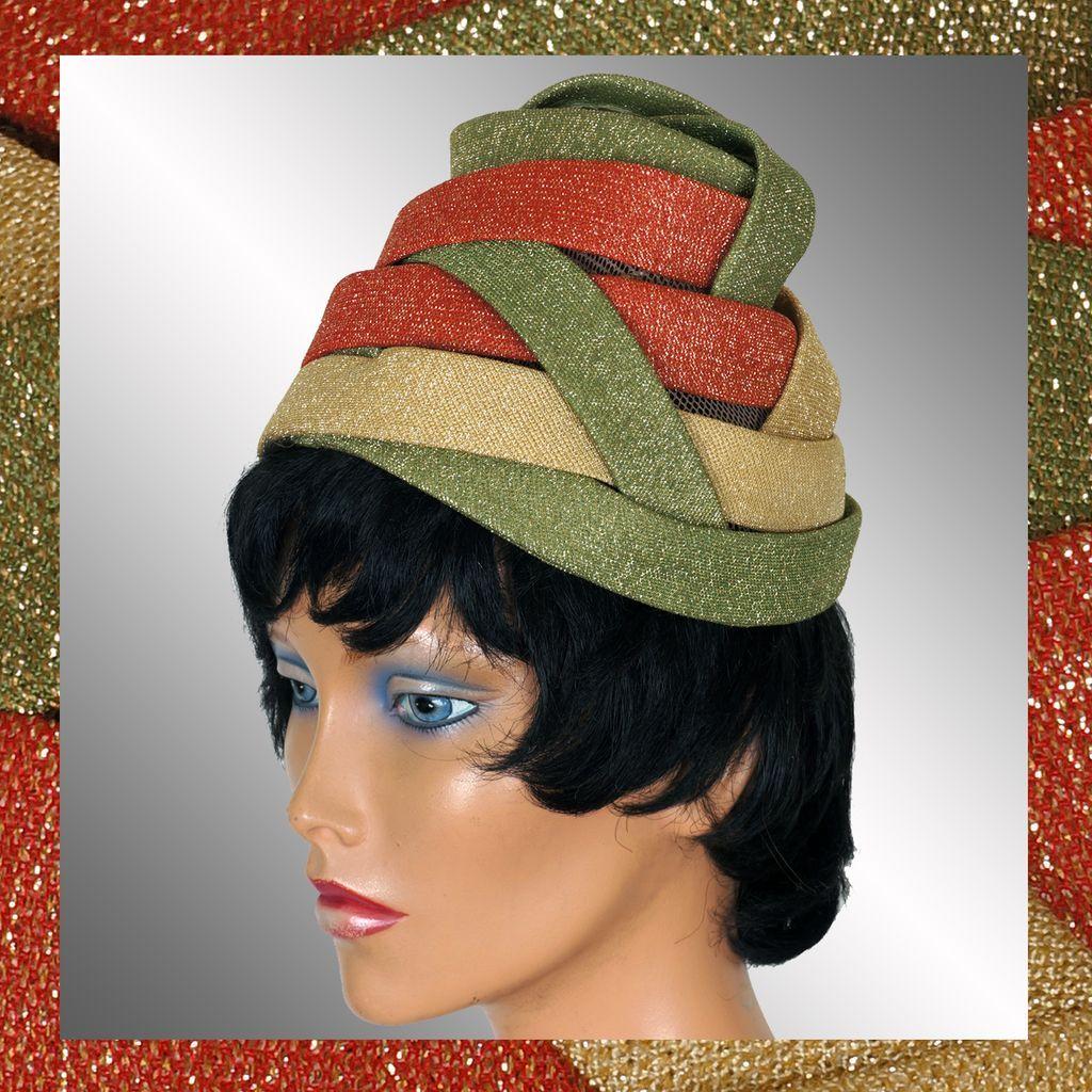 RESERVED Vintage 1950s Lurex Band Turban Hat - Unique