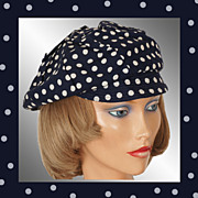 Vintage 1960s Navy Blue & White Polka Dot Cap Hat