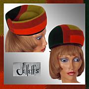 Vintage 60s Mod Color Block Hat // 1960s Mondrian Style Felt Versatile Ladies Size M