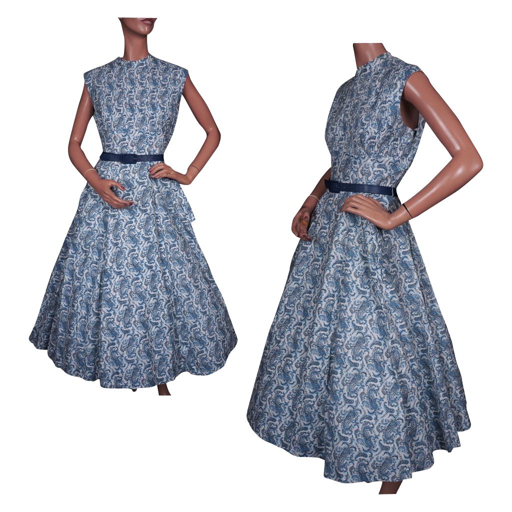 Vintage 50s Blue Paisley Print Dress // 1950s Long Crinoline Style Cotton Ladies Size Large L