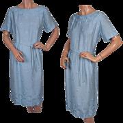Vintage 50s Blue Linen Dress // 1950s Embroidered Circles Ladies Size Large L